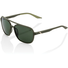 100% Kasia Aviator Round Gafas, soft tact army green/smoke